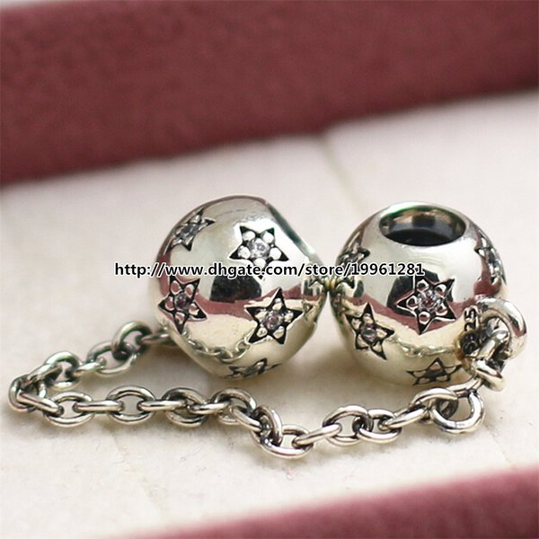 New 925 Sterling Silver Star Safety Chain Charm Bead Fit European Pandora Style Jewelry Bracelets & Necklaces