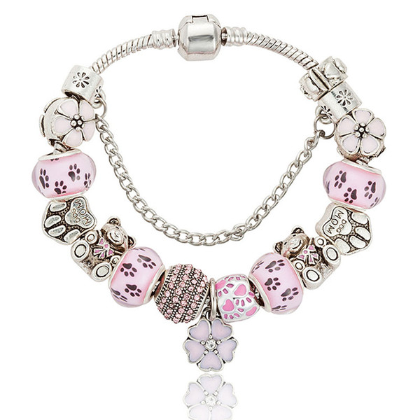 Fashion Jewelry 10 Styles 925 Sterling Silver Daisies Murano Glass&Crystal European Charm Beads Fits Charm bracelets Style Bracelets 18+5CM