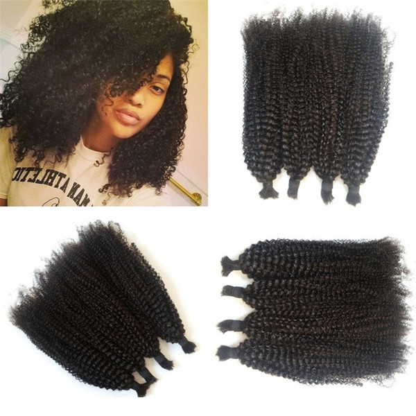 4 Bundles Bulk Hair For Braiding 4-26 Inch 100% Unprocessed Mongolian Human Hair Bulk Kinky Curly LaurieJ Hair