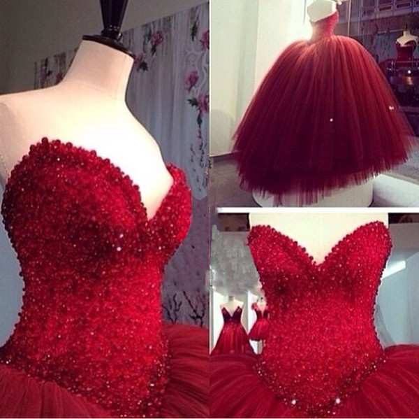 Middle Eastern Style Red Ball Gowns Wedding Dresses With Sweetheart ...
