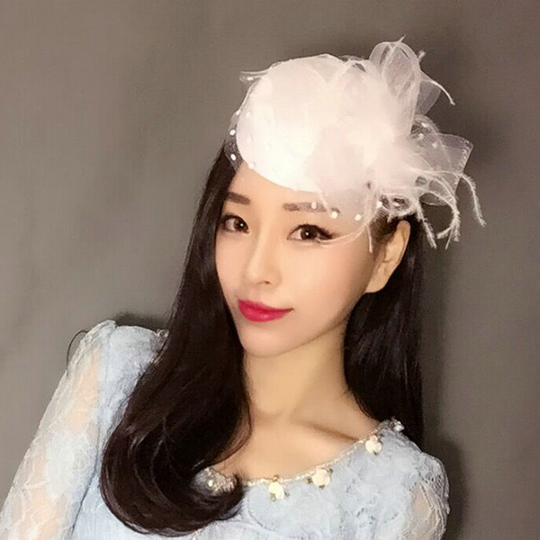 Free Shipping Hot Sale black Bird cage Net Wedding Bridal Fascinator Hats Face Veil Feather black Flower for party accessory