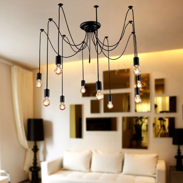 New Modern led pendant lights DIY Vintage French 2 meter 10 Lights Black Chandelier/Hanging Lamp/Droplight