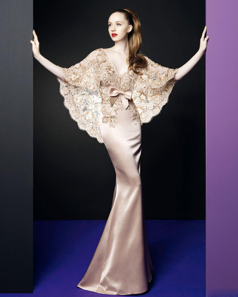 Free Shipping Champagne Lace Mermaide Prom Dress with Lace Bolero Natural Waist Floor length Satin Zuhair Murad Eevning Dresses