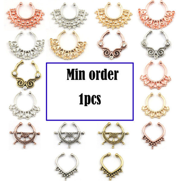 10pcs mixed fake nose ring hoop alloy silver rose gold none piercing fake septum ring with crystal for body jewelry N0033