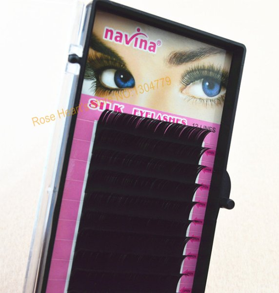 Wholesale-4 Trays 14mm 12mm 10mm 8mm 0.15C C-Lash Curl Black Individual Silk False Eyelashes Eye Lash Extension Kit Set