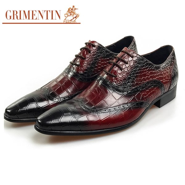 GRIMENTIN Hot sale fashion dress men formal shoes 2019 new mens oxford shoes genuine leather crocodile style wedding business male shoes