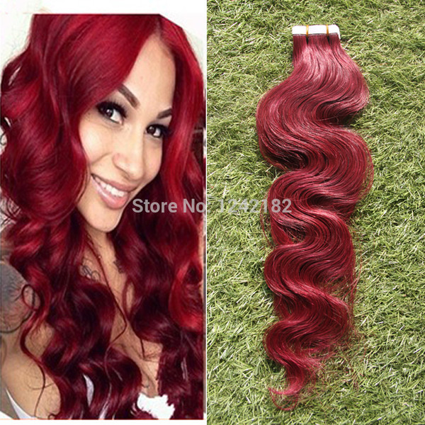 Sexy Beauty Skin Weft PU Tape Hair Extension Brazilian Body Wave Virgin Hair Tape In Human Hair Extensions 40 pcs red hair Clips