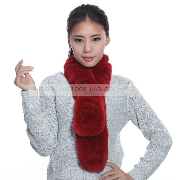 Fur Scarf Women Rabbit Autumn Lady Genuine Rex Rabbit Scarves Wraps Winter Rings Females Neckerchie Wholesale Retail Fur Scarfs Long