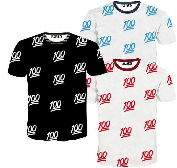 2015 nueva moda hombres / mujeres 3D camisetas impresión gráfica 100 emoji camiseta divertida de manga corta camiseta de verano tops casuales ropa