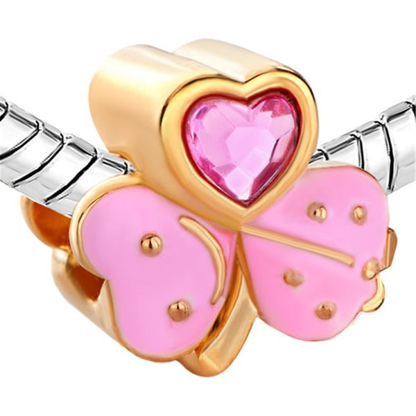 Gold Plating Pink Enamel Heart Shamrock Clover Live Love Laugh European Beads Charm For Pandora Bracelet