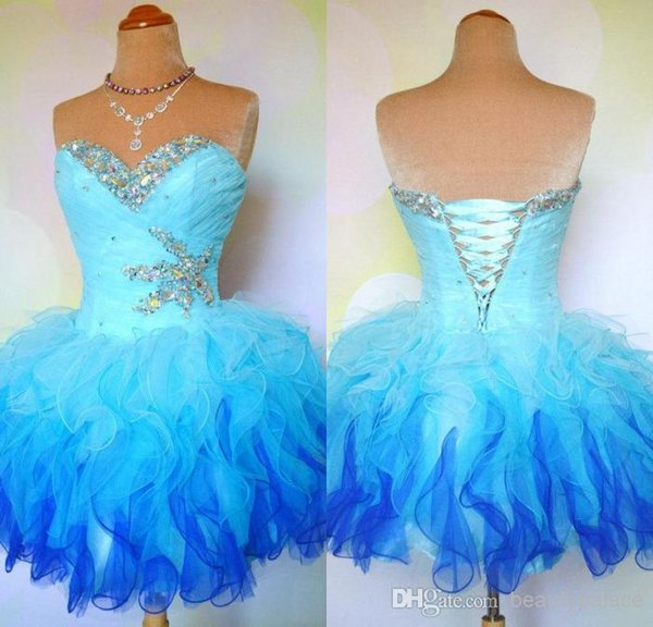 Cheap Ombre Multi Color Colorful Short Corset and Tulle Ball Gown Prom Homecoming Dance Party Dresses Mini Bridal Bachelorette Gowns cheap