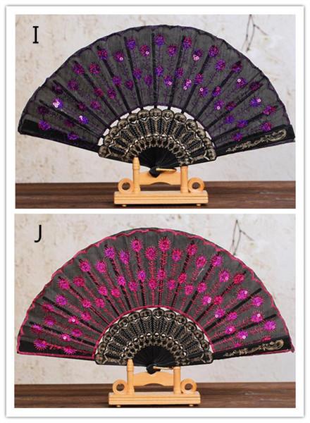 Neuer chinesischer faltender Pfau-Handfan-Korn-Gewebe-Dekor färbte gesticktes Blumenmuster-Schwarz-Stoff-faltender Handfan