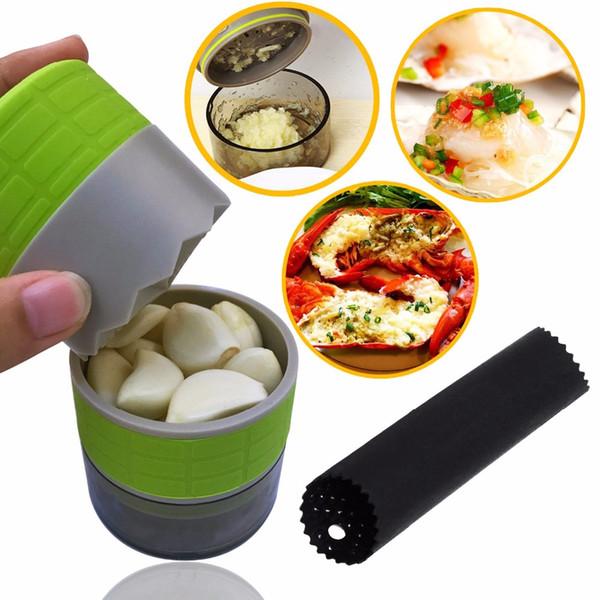 Garlic Press And Peeler Set Garlic Crusher Portable Garlic Clasp Mincer Chopper Slicer Grater Cooking Kitchen Tools Gadgets