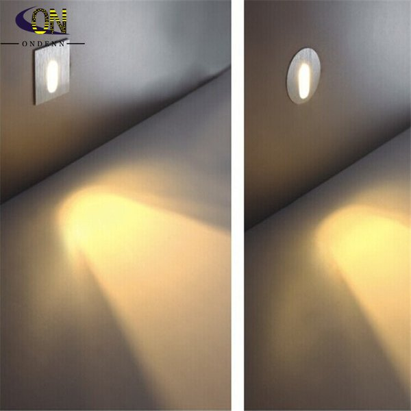 Lampade a sospensione a led 85-265V 3W Lampade da parete a led per scale a incasso per scale Lampade a gradino / corridoio Illuminazione da incasso a parete in cemento