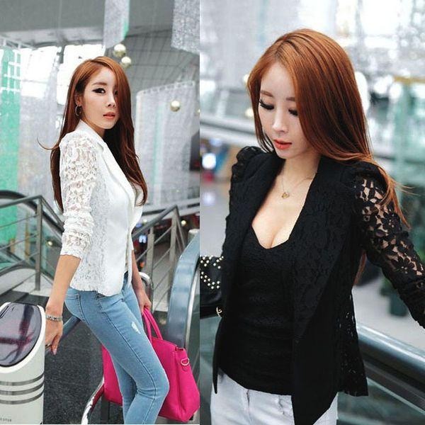 Новая мода сексуальные женщины леди с длинным рукавом кружева вязание крючком пиджак костюмы маленький пиджак куртка только для вас