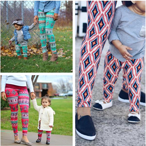 30 Design Girls and Moms' Family Legging Tighter Christmas Tiger Monkey Flora Cosmic Sky Lattice Jacquard printed Baby Kids Tight Pants 1-12
