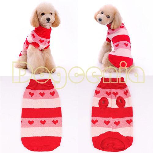 Toptan-Kırmızı ve beyaz çizgili kalpler Tasarım Pet Ürünleri Köpek Giyim Kış Kazak Ücretsiz Nakliye için Kazak