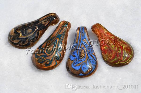 Drop Gold Sand Multi-Color Lampwork Murano Glass Pendants Necklaces Wholesale Retail FREE #pdt104