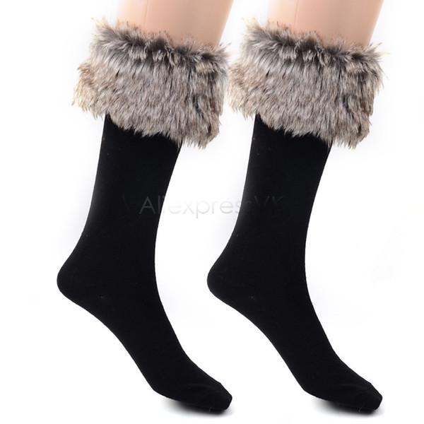 Hot Sale !! Promotion Women Winter socks female Long Boot fit Faux Fur wool Knee socks b22 19333