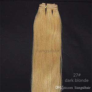 "Human Hair Weaves Brazilian Virgin Remy Hair Weft Indian Peruvian Hair Bundles Extensions 100g 1pcs 20"" 27# Dark Blonde"