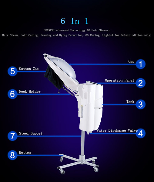 SEYARSI vendita diretta della fabbrica Micro Mist O3 Capelli Steamer, processore, il trattamento, Deluxe Edition, con le luci