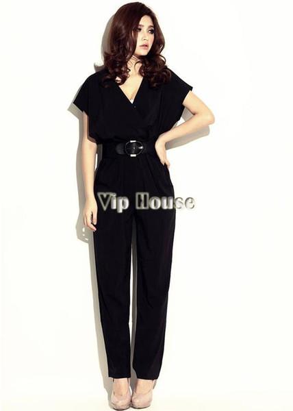 2014 neue Frauen Sommer Mode Kurzarm V-Ausschnitt exotischen Overall Hosen Shirts Overall mit Bund B19 13464