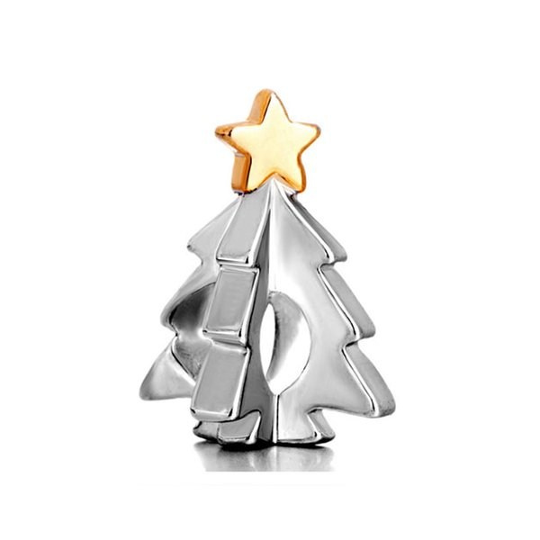 10pcs per lot Merry Christmas Gold and Rhodium Plating Christmas Tree European Charm Bead Fits Pandora Bracelet