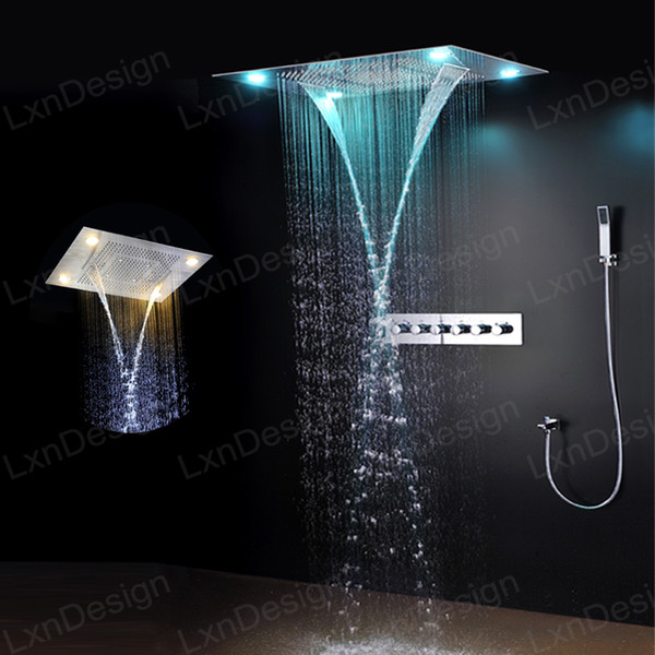 top popular Rainfall Waterfall Shower Heads Stainless Steel Embeded Ceiling Mounted LED Rain Shower Head Set with Brass Mixer Valve 2019