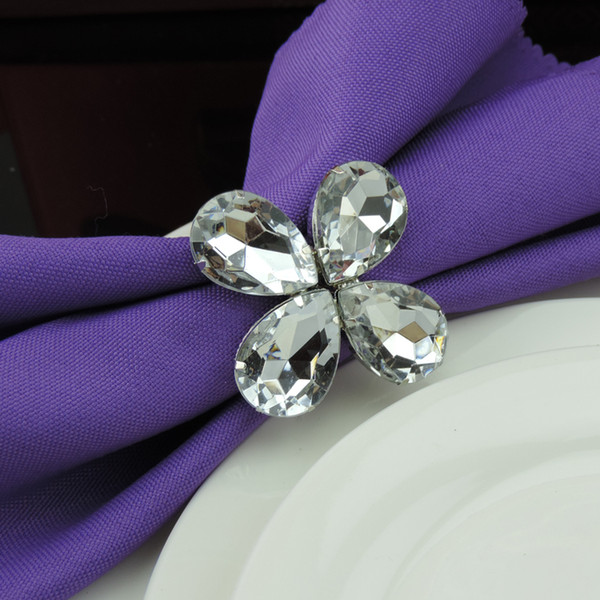 Shiny Clear Crystal Napkin Rings Napkin Rings Napkin rings holder for Hotel Wedding Banquet Bridal Shower Favour Party Table Decoration