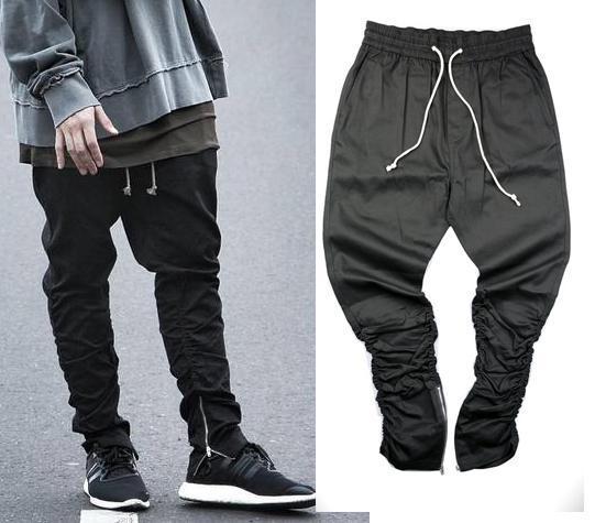 Justin bieber yan fermuar Pantolon erkekler slim fit casual hip hop jogging yapan biker pantolon yağma sweatpants sıska pantolon zeytin
