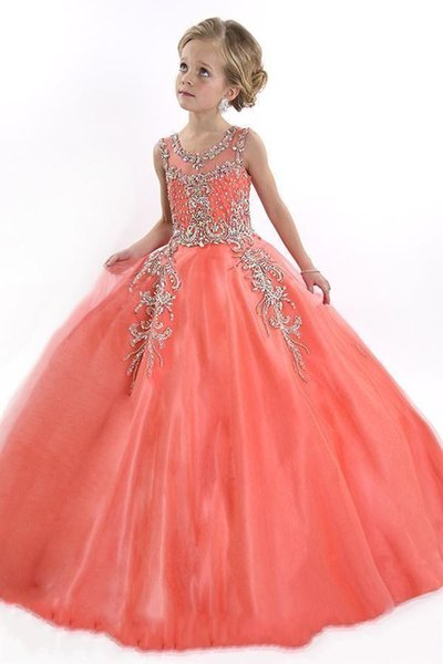 2016 New Coral Flower Girls Dresses For Weddings Tulle Illusion Crystal Beads Party Cheap Princess Children Kids Party Birthday Pageant Gown