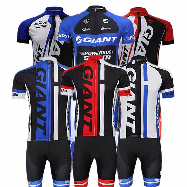 top popular Wholesale-[ Fast Delivery ] 2015 GIANT Team Cycling clothing Short Sleeve ropa ciclismo Cycling Jersey Jersey+BIB Cycling clothing 2019