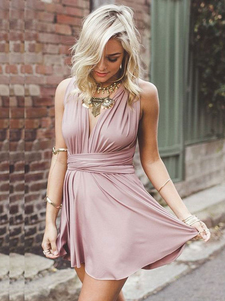 Hot Sell High Quality Short Blush Convertible Dresses Bridesmaid Gowns Prom Gowns Homecoming Dress In Stock