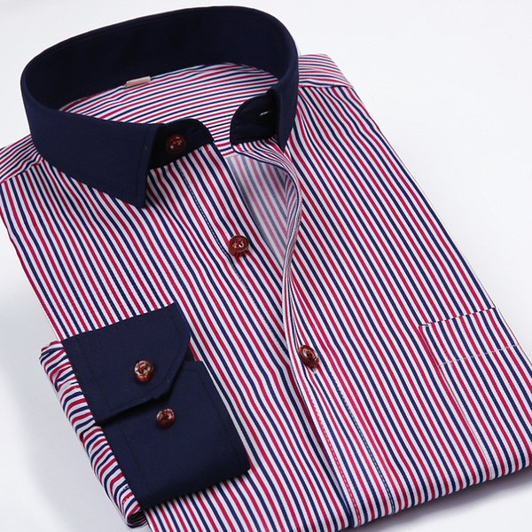 Al por mayor-S-4XL Camisa de manga larga de los hombres Camisa de rayas Hombres chemise homme color sólido Turn-Down Camisa de cuello Formal Camisa Masculina