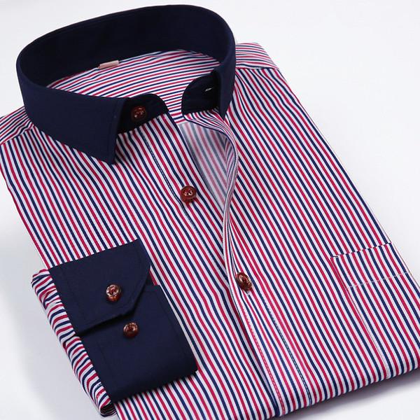 Großhandels-S-4XL Mann-Hemd-langes Hülsen-Kleid-gestreiftes Hemd Männer chemise homme Normallack-drehen-unten Kragen-Hemd formales Camisa Masculina