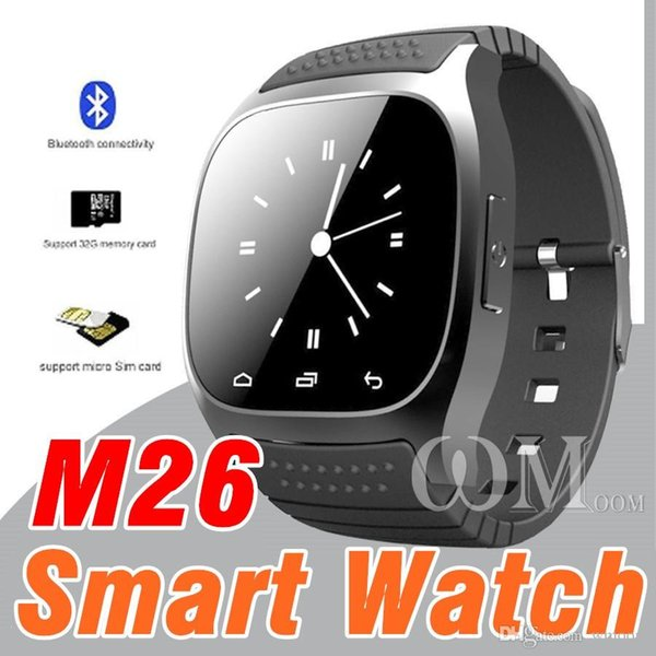 M26 smartwatch Wirelss Bluetooth Smart Watch Phone Bracelet Camera Remote Control Anti-lost alarm V8 A1 U8 watch for IOS Android With BOX