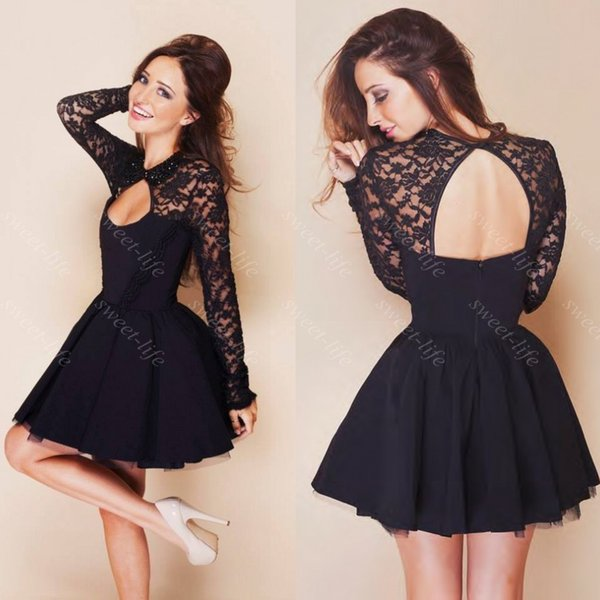 2019 Cute Short Prom Dresses Cheap Black Lace Long Sleeve Backless Party Cocktail Dress 8th Kids Graduation Homecoming Dress Gowns