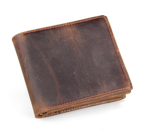 Homens de Couro Genuíno Retro Curto Bifold Carteira de Couro Moeda Bolsa Titular do Cartão de Dinheiro Grampos Fino Bolsa Do Projeto Do Vintage