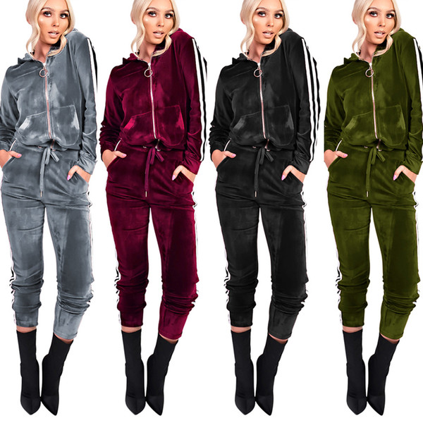 2017 Winter Women's Sexy Warm Hooded Tracksuits Girls Casual Velour Zip Side Striped Ribbon Long Sleeve Tracksuit with Pockets