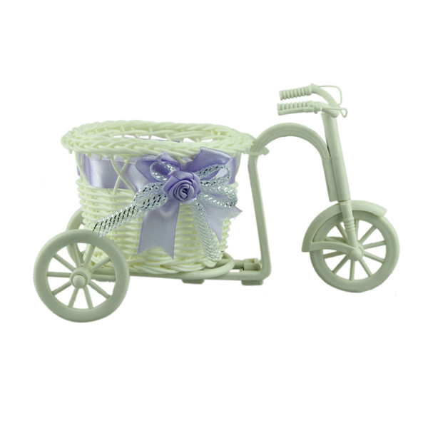 Fantastic T01 1pcs big wheel round basket rattan floats flower vase flowerpots containers small bike/flower pot LightPurple 100%
