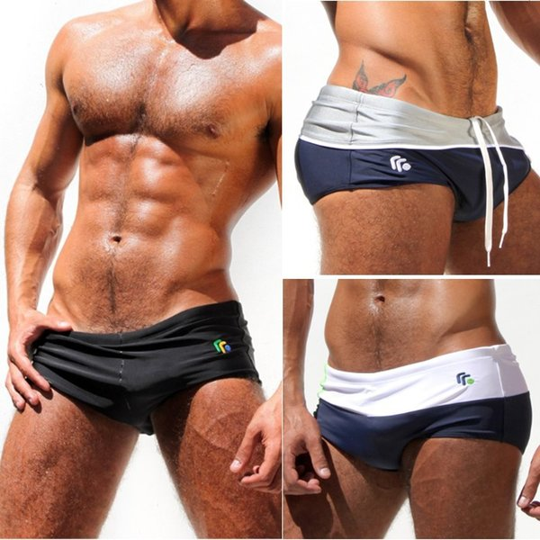 8004348406 Sexy Mens Swimwear Swimming Shorts Trunks Swimsuits for Man Beach Surf Sea  Hot Pouch AQUX Brand