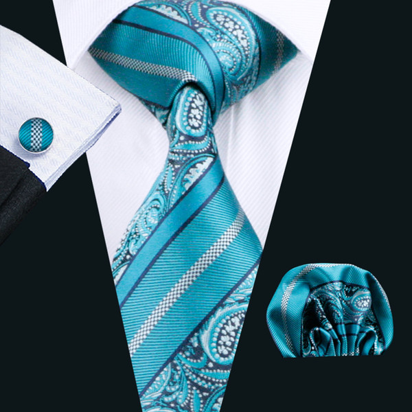 Teal Mens Ties Hanky Cufflinks Set Jacquard Woven Neck Tie Set Silk Mens Set Business Work Formal N-0455