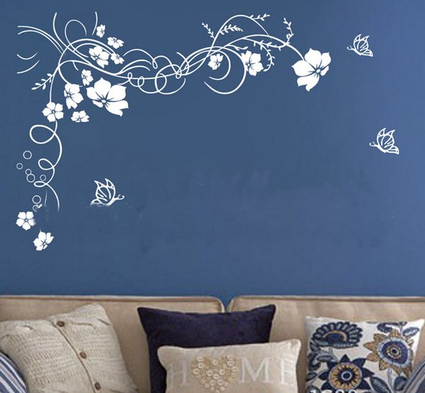 2015 hot beautiful flower wall paper decal art stickers for home decoration living room bedroom sofa