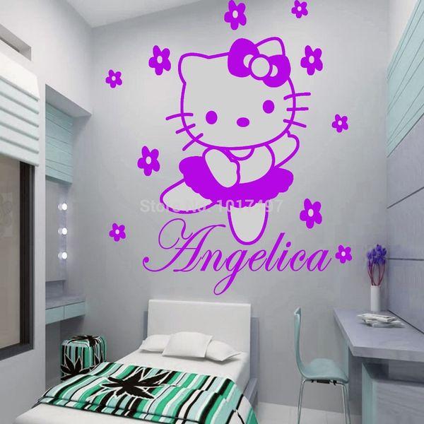 Vinilos Hello Kitty Pared.Compre Hello Kitty Hadas Nombre Personalizado Etiqueta De La Pared Calcomania De Arte Vinilo Ninos Chica Habitacion Decorativa Envio Gratis C2065 A