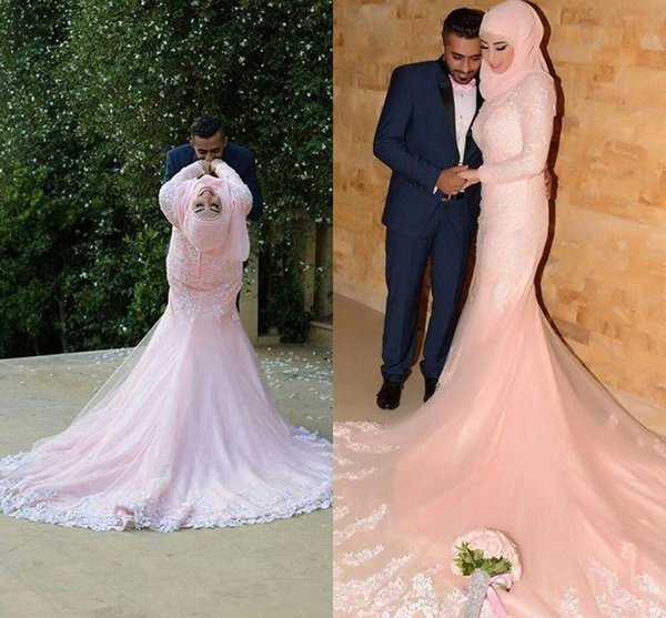 2016 Pearl Pink Muslim Arabic Evening Dresses For Wedding Long Sleeves Lace Appliques Court Train Classic