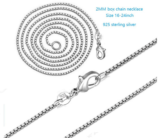 """Wholesale 925 Sterling Solid Silver Plated 2mm Box Chain Necklace 16/""""-24/"""""""
