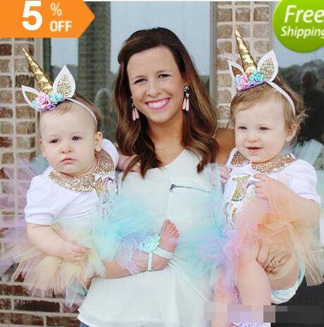 Fasce per capelli per bambina Feste per fiori per unghie per unghie Unicorn Fasce per capelli per bambini Glitter accessori per capelli principessa Faccine per fotografia di compleanno