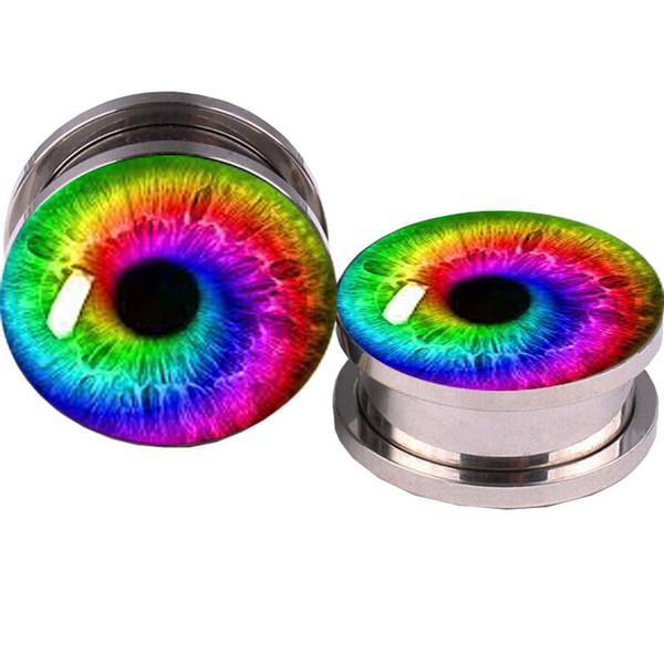 Ojos de color Logo Túnel del tapón del oído 5-16mm Expansor de piercing Tapón falso del oído Túneles Pendientes Calibres del oído Tapones Piercings corporales