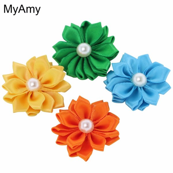 Myamy 150pcs /Lot Diy Flowers Without Clips Satin Hair Ribbons Flowers Sew Multilayers Pearl Flowers for Girls Hair Fashion Headwear