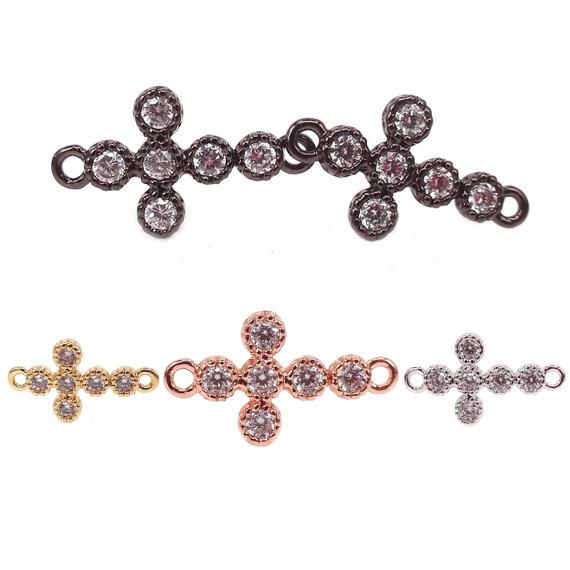 Cross Brass Connector,Micro Pave CZ Cross sideway connector For Fashion Bracelet Making,Mixed Color Cross Pendant Charm,Cross Links,9mm*16mm